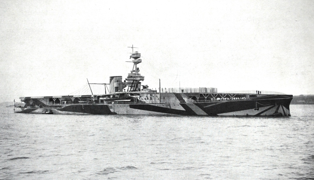 8. Photograph of dazzle painted aircraft carrier HMS Furious, probably taken in 1918. Designed as a battlecruiser she was built at Armstrong Whitworth's High Walker shipyard on the Tyne and modified as an aircraft carrier before completion. Her turbine engines were by the Wallsend Slipway and Engineering Co. Ltd. (TWCMS : 2011.693 – Booklet The Wallsend Slipway and Engineering Co. Ltd. – A 50 Years Retrospect)