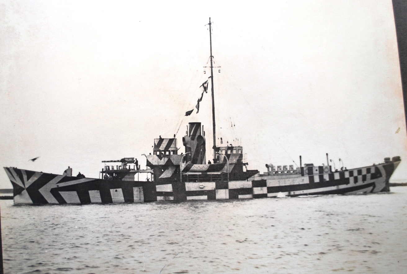 6. Photograph of dazzle painted Z class anti-submarine patrol boat, based on a whale catcher design. Fifteen of these boats were ordered from Smith's Dock South Bank shipyard on the Tees in March 1915 to combat the U boat threat. All were completed between August and November 1915. The theory was that ships designed to hunt whales would prove successful submarine hunters. Unfortunately although the Z class boats were very manoeuvrable they were not very seaworthy and no more orders were placed. (TWCMS : 1993.9590 – Smith's Dock Notable War Jobs album)