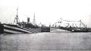 3.Photograph of ss Grantuly Castle (the single funnelled ship to the left), that Wilkinson used in his presentation as a good example of the striped type of dazzle scheme.