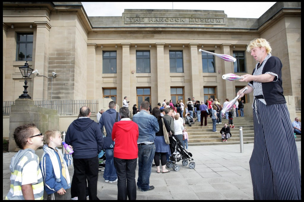 People queue up to visit the Great North Museum: Hancock on its opening day