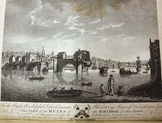 "Image of the ruined bridge from John Brand's ""History of Newcastle"""