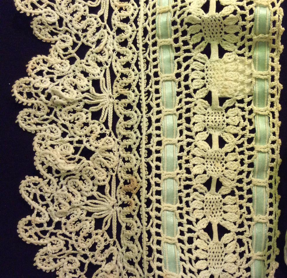 Detail of a tape and crochet lace yoke - TWCMS_J8104