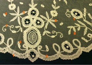 Section of a large net collar with applied tapes and a chemical-lace motif. TWCMS_ H1280