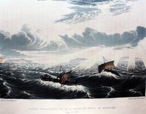 """Canoe broaching to in a gale of wind at Sunrise, August 23rd"" 1821"