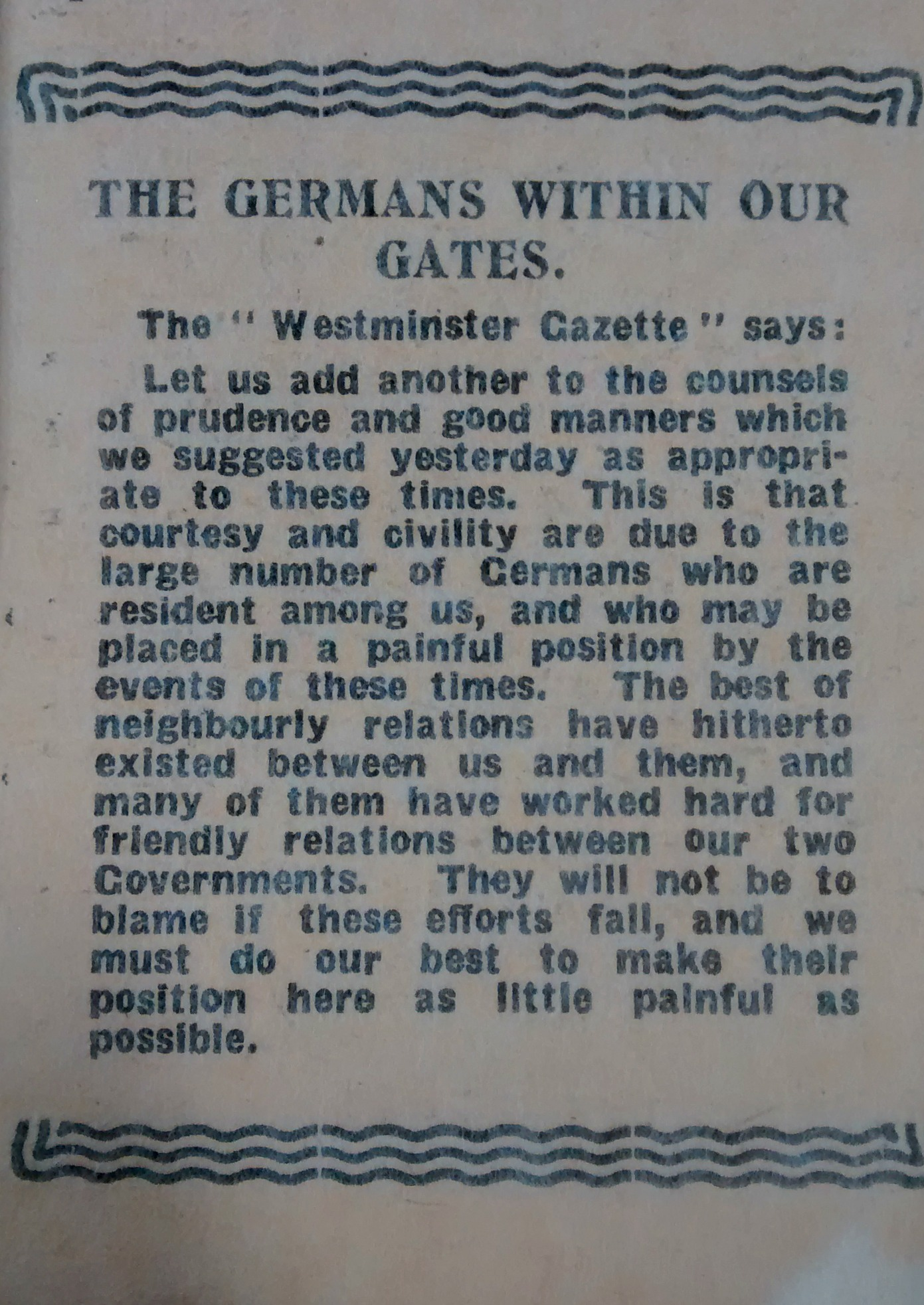 'The Germans within our gates' taken from the Illustrated Chronicle, on 6 August 1914 reproduced by the kind permission of Newcastle City Library
