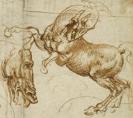 Leonardo Expressions of fury horses man lion copy