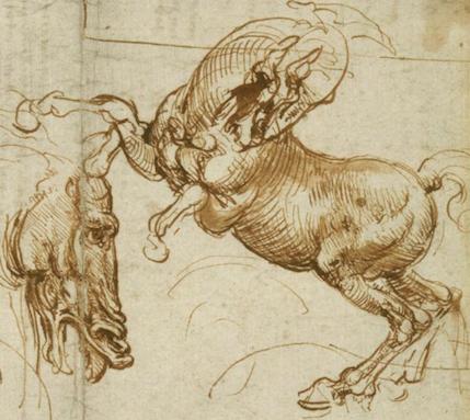 Leonardo Expressions of fury horses man lion copy