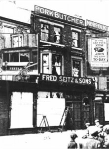 STH0004368 A photograph taken from South Tyneside Libraries collection (www.southtynesideimages.org.uk) of Fred Seitz & Sons' Pork Butcher shop, which was situated at 11 Market Place