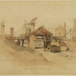 Painting of entrance to Victorian-style industrial buildings