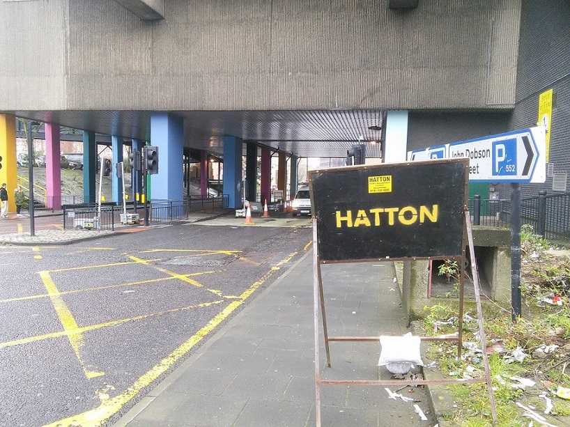 Roadworks with Hatton sign