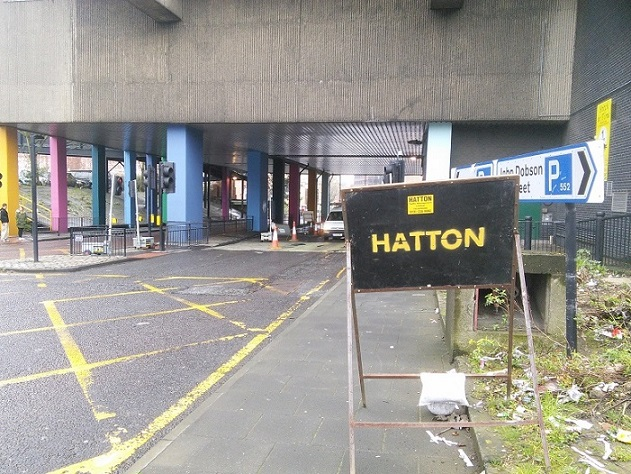 Roadworks with 'Hatton' sign
