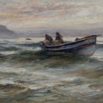 Painting of two men in open rowing boat at sea