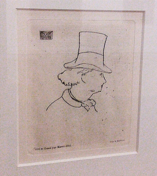 Line profile drawing of man in top hat