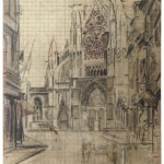 Black-and-white drawing of medieval-style cathedral at end of street