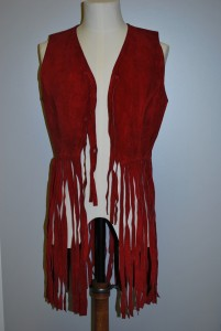 TWCMS: 1008.1727.1 - red suede fringed waistcoat dating from 1970