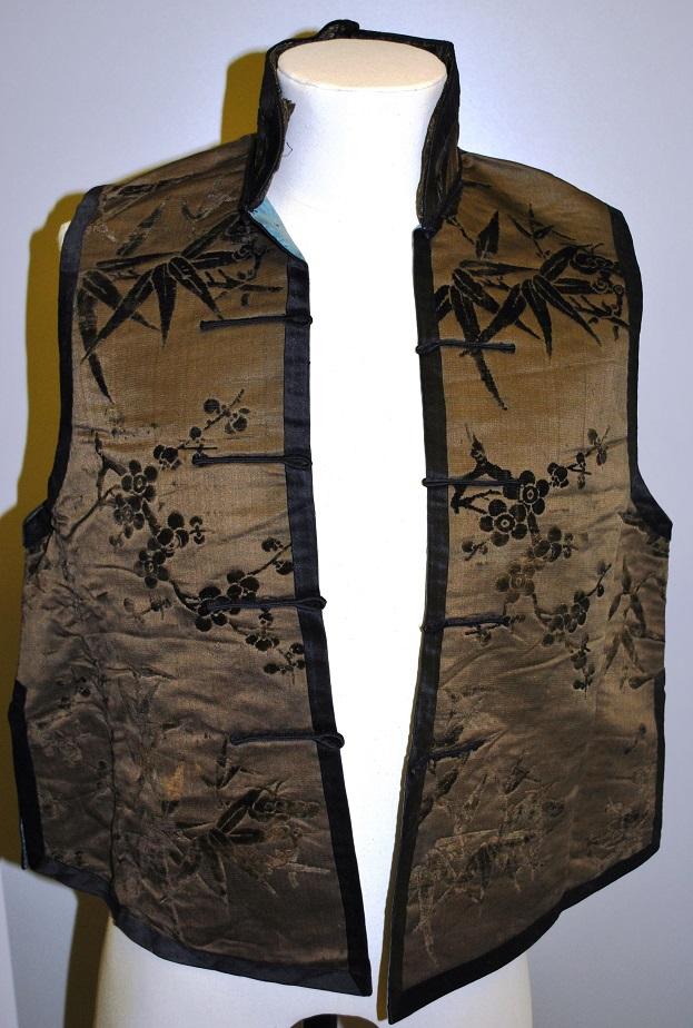 M4909 - brown silk and velvet waistcoat