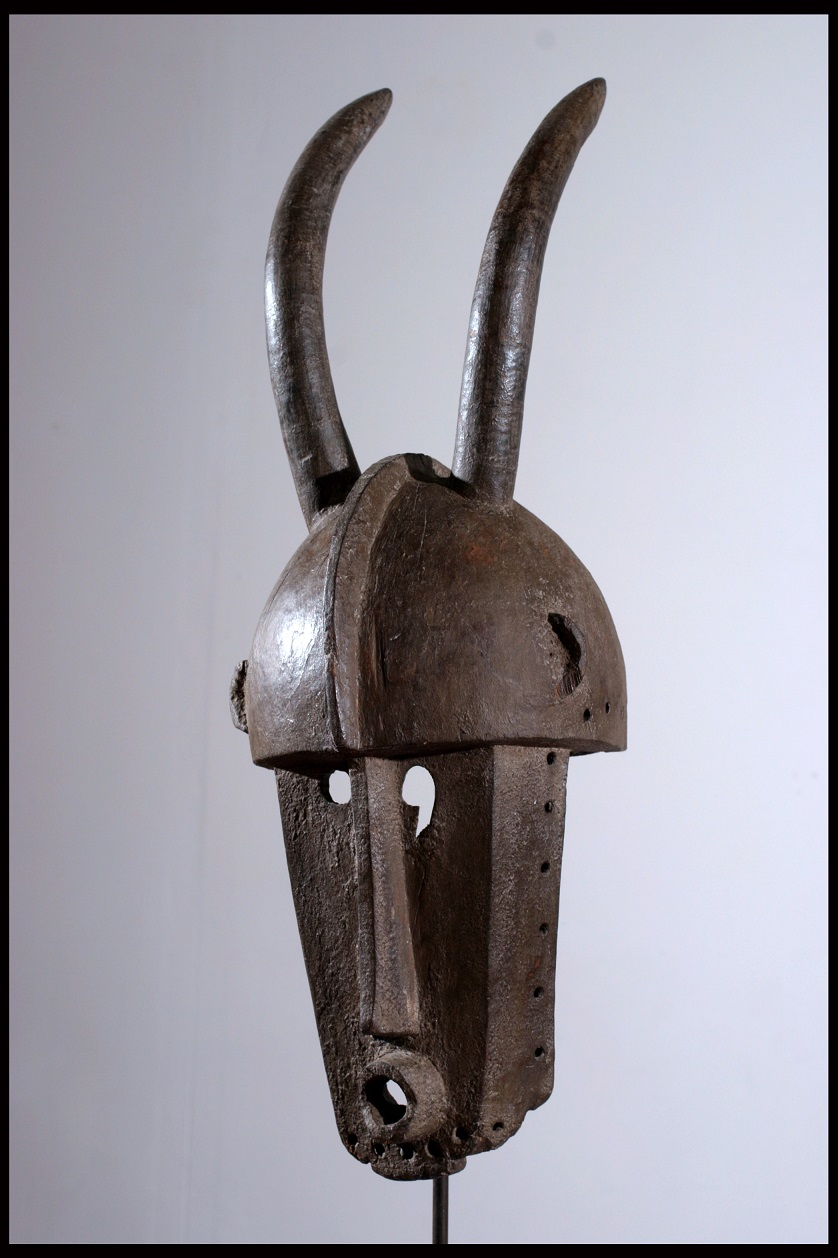 Brown helmet mask with two horns
