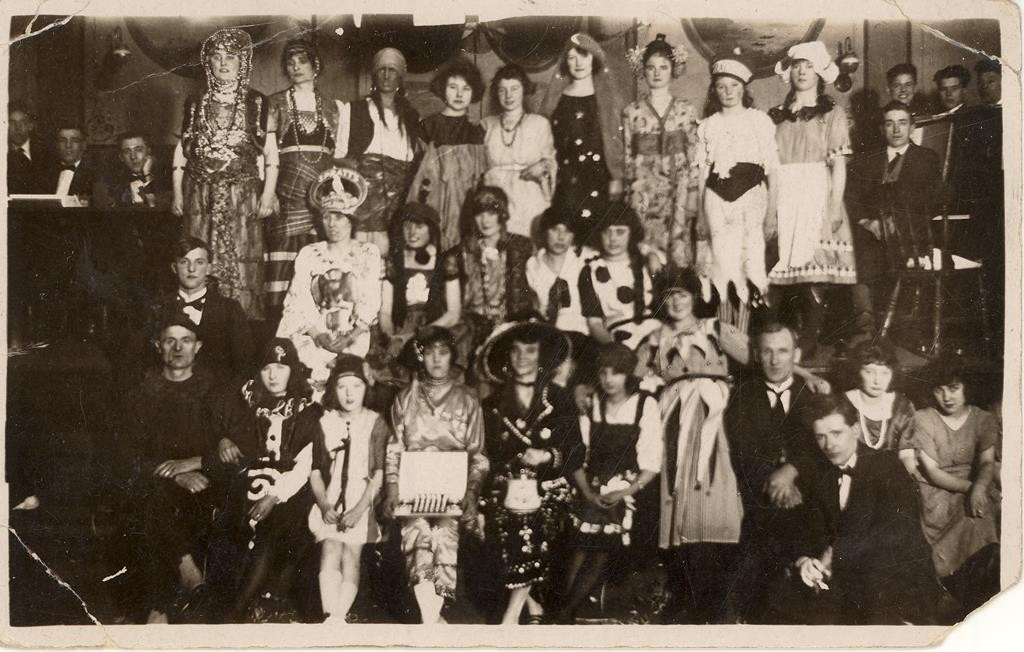 A fancy dress ball at the Miners' Hall, Boldon Colliery, 1921