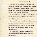 22 January 1918— letter to Kitty confirming her award of the Croix de Guerre
