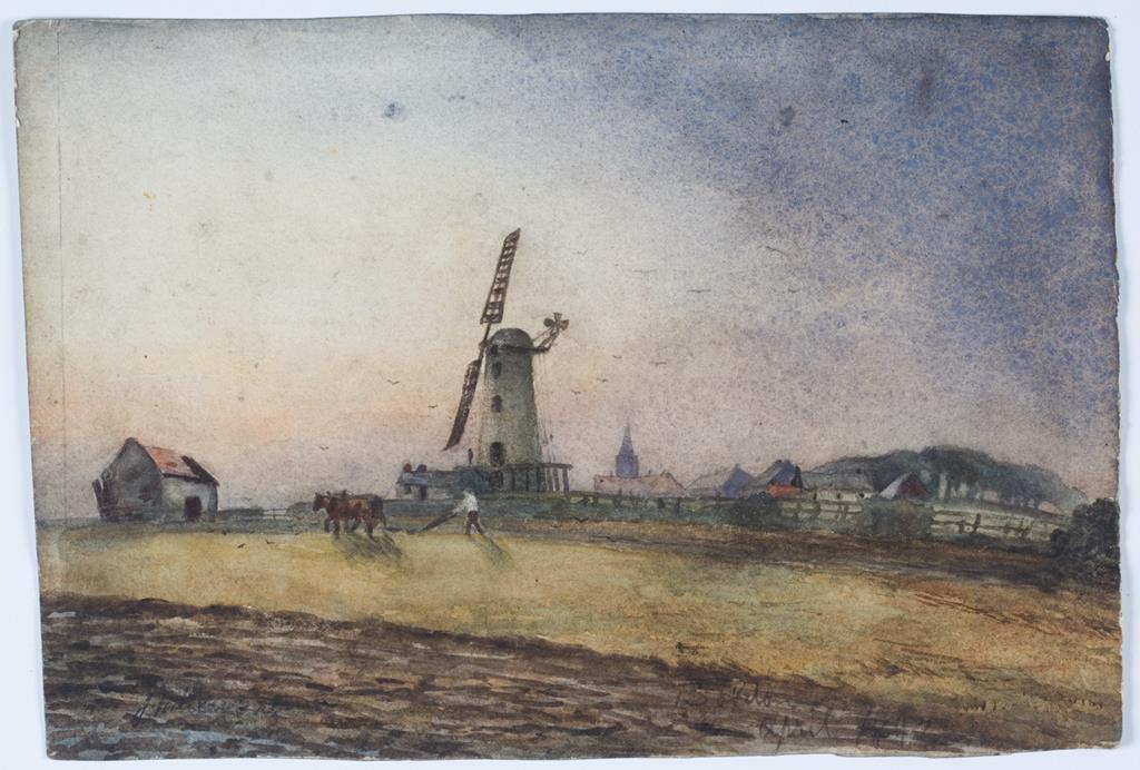 'Boldon Mill', a watercolour by James Miller Brown, 1897