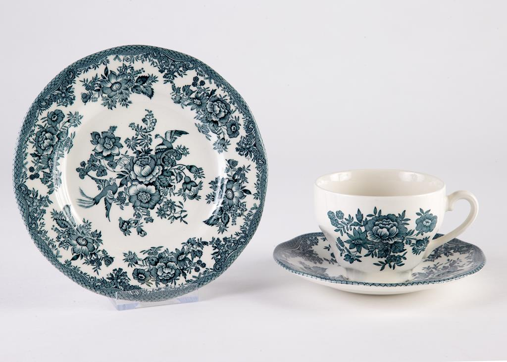 A tea cup, saucer and tea plate in the Cottage Rose pattern, 1950s