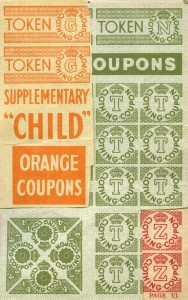 Coupons inside a 1947-48 child's clothing book