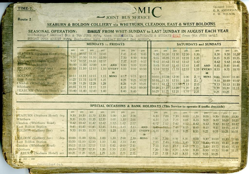 Economic Bus Service timetable, mid 1950s