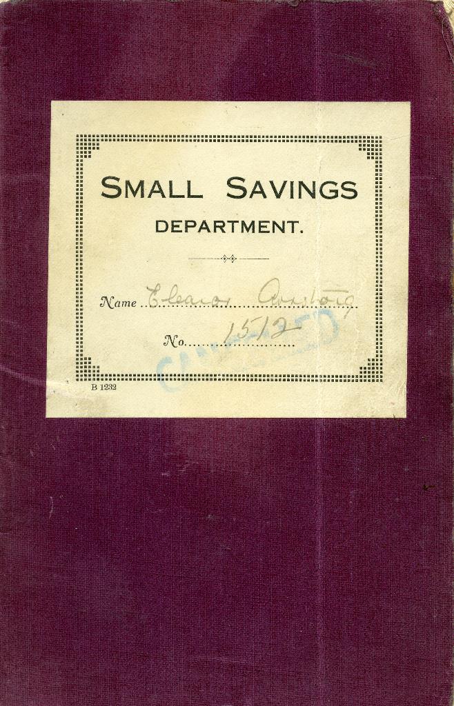 A Boldon Industrial Co-operative Society Small Savings Bank book, 1933