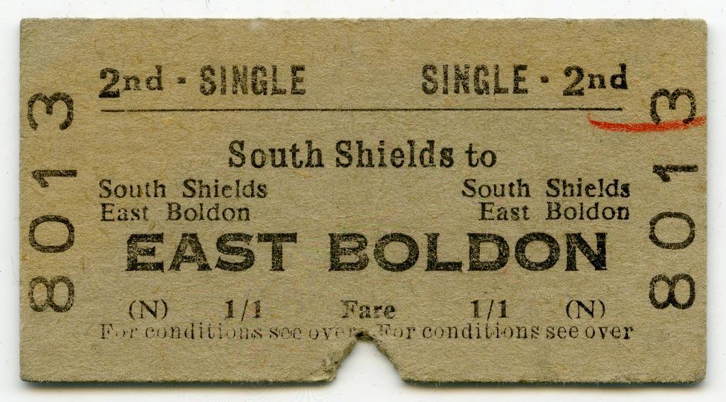 Train ticket, South Shields to East Boldon, 1960
