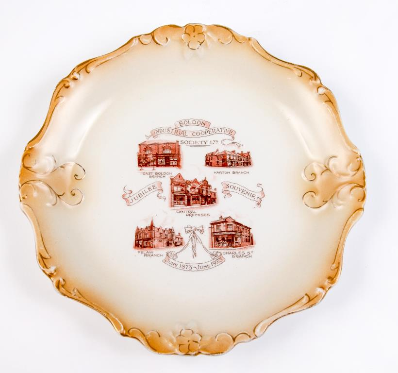 Boldon Industrial Co-operative Society golden jubilee plate, 1923