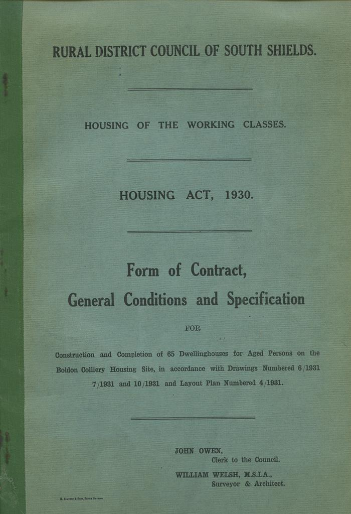 A contract for the construction of 65 houses for 'aged persons' at Boldon Colliery, 1931