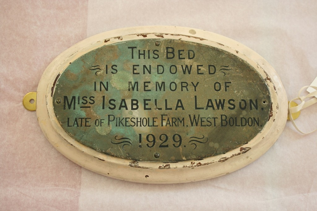 Plaque in memory of Miss Isabella Lawson, 1929