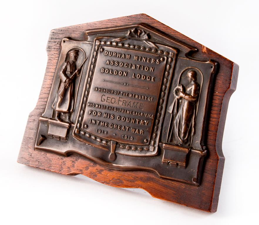 Memorial plaque presented by the Boldon Lodge of the Durham Miners' Association to the next of kin of George William Frame