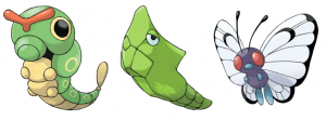 Caterpie, Metapod and Butterfree (three 'evolutionary' stages for this particular bug type pocket monster). © the Pokémon Company International, Inc.