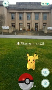 Pikachu as seen outside the Great North Museum: Hancock in the Pokémon Go game.