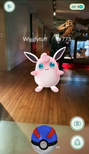 Wigglytuff as seen near to our T.rex in the museum