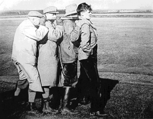 23 March 1951 - Temperley can be seen to the far left 'watching a flock of 250 Barnacle Geese and some Pink-footed Geese on the Solway Marshes' Image courtesy of the 'Natural History Society of Northumbria (NHSN) Archive