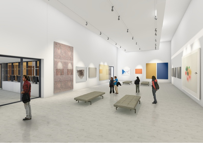 Artist image of interior art gallery exhibition space, white walls displaying art exhibits