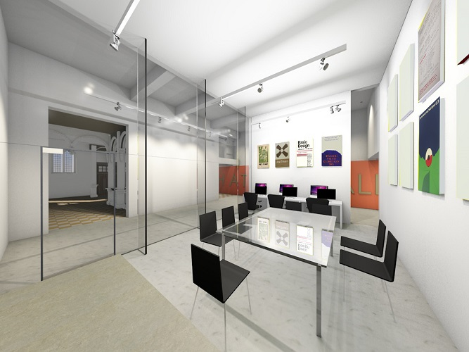 Artist design interior modern room with large glass table, , glass entry screen, art on walls