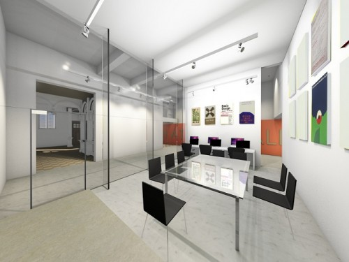 Artist desing modern interior room with large glass table, chairs, glass entry screen and art on walls