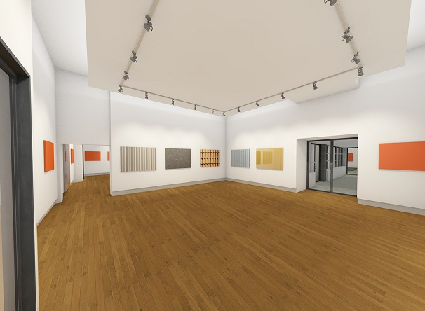 Artist impression of art gallery space with art on white walls and wooden floor