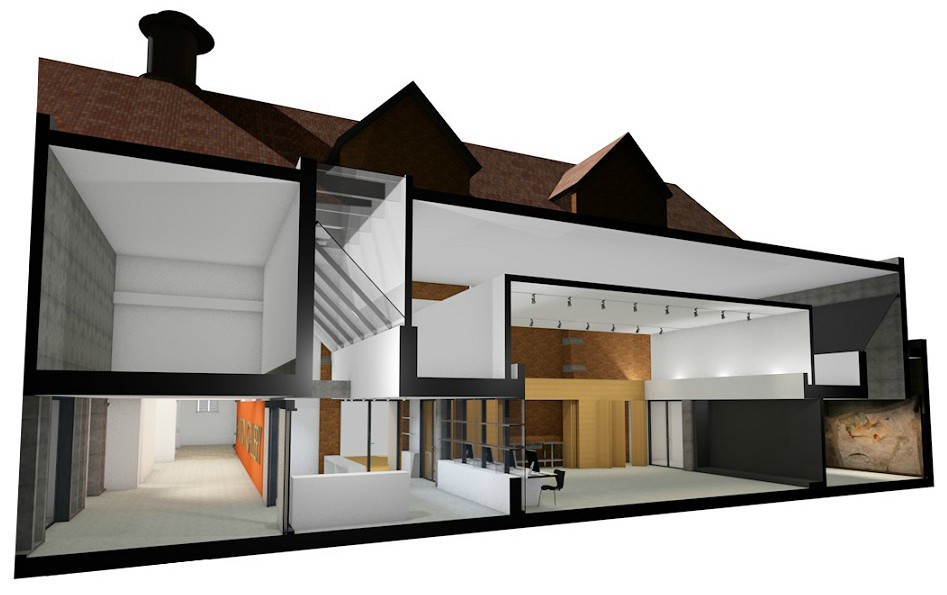 Artist impression of cross section of modern two-storey building