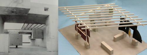 Left: Apollo Pavilion – Victor Pasmore, 1969 (image apollopavilion.info). Right: Model for Hatton Showcase Pavilion – Toby Paterson, 2016