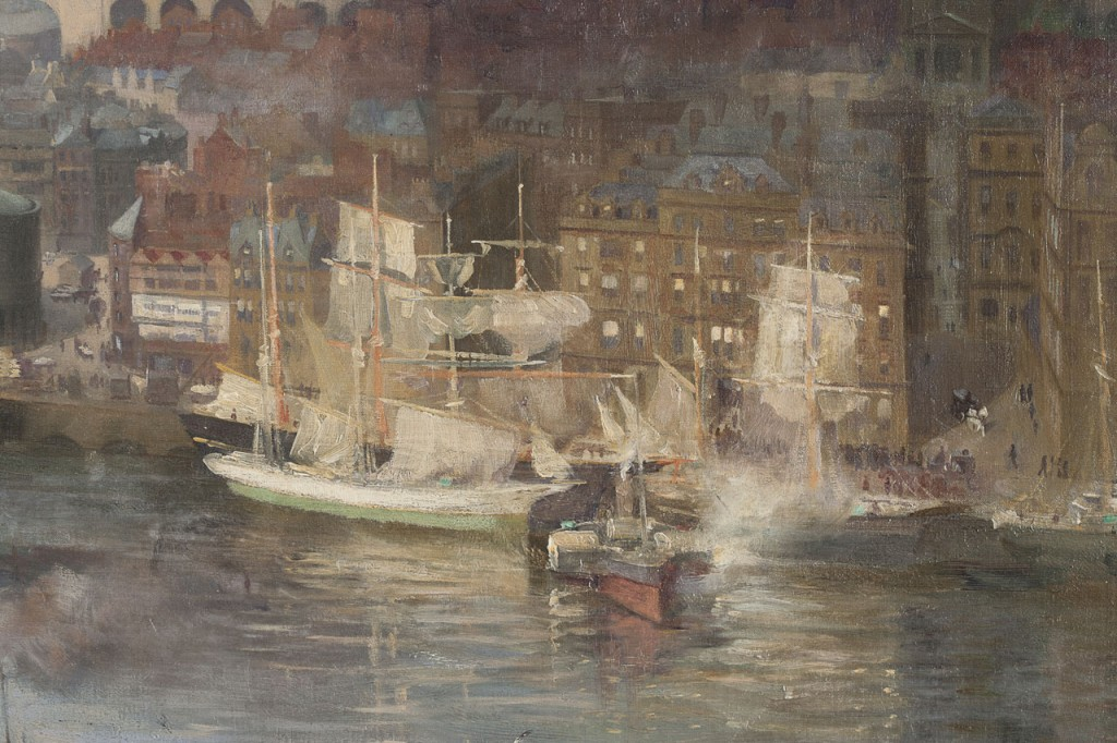 G12962b Lund, Newcastle from Gateshead, detail sailing ships