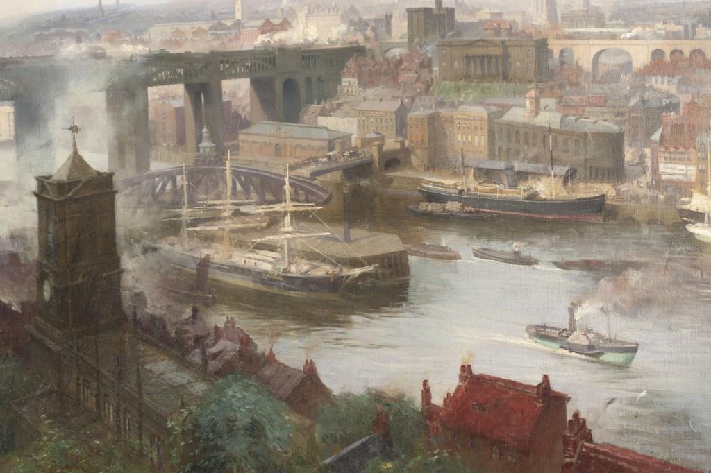 g12962a. Lund, Newcastle from Gateshead, detail Swing Bridge
