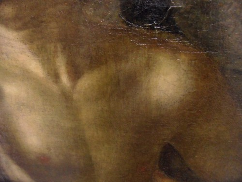 If you look closely at the chest of adam you can just make out the greenish grey under painting in the shadowed areas