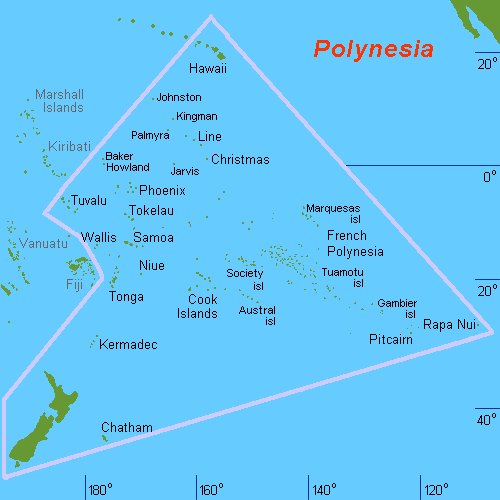 Map showing the vast area of Polynesia, with Hawaii in the north, Easter Island (Rapa Nui) in the south east, and New Zealand in the south west. Polynesia consists of over 1,000 islands.