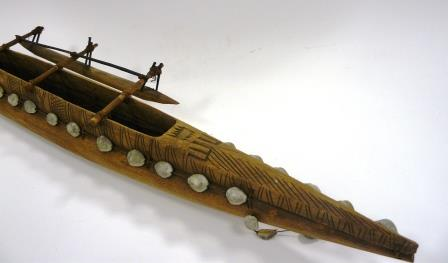 NEWHM : C573, model canoe with outrigger, Niue . Part of a bequest from the late Julia Boyd, a keen collector of natural history and ethnographic artefacts.
