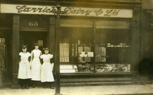 Shop assistants at Carricks Dairy, North Street, Jarrow, 1914