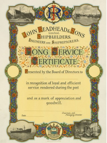 John Readhead & Sons long service certificate, 1938 (TWAM ref. DS.RDD/5/7/5)